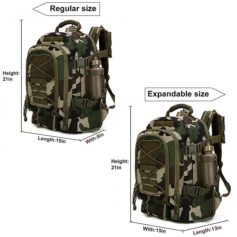 70L Capacity Men Military Tactical Large Backpack French Camo Waterproof Outdoor Sport Hiking Camping Hunting Rucksack Bags