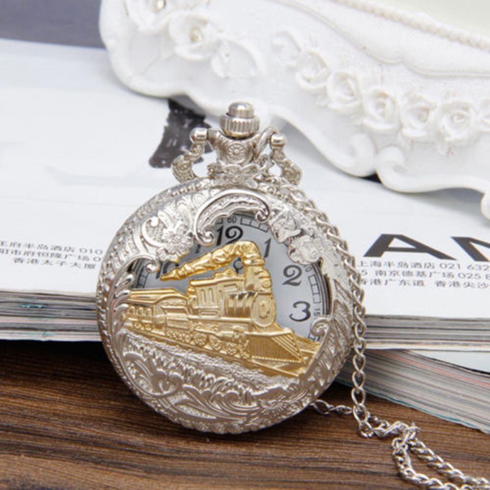 Vintage Punk Elegant Pocket Watch Steam Train Locomotive Alloy Quartz Movement Chain Necklace for Collection