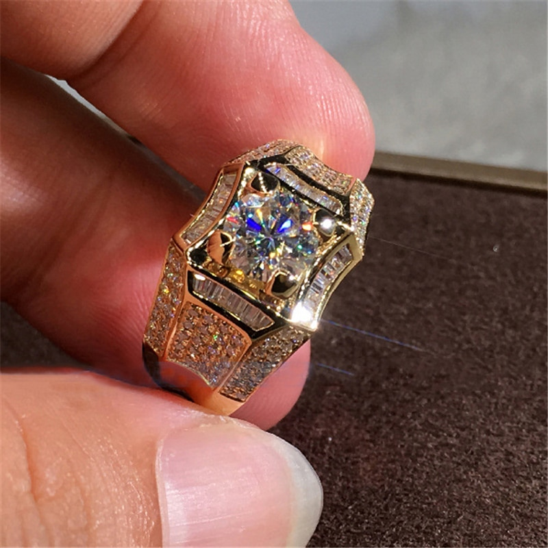 14K Gold 3 Carats Diamond Ring for Men Rock 14k Gold Jewelry Anillo Esmaltado Silver 925 Jewelry Bague Diamant Bizuteria Rings