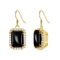 szjinao shiny 14k gold gold earrings for women black drop earrings onyx with aaa cubic ziron 925 silver gold plated jewelry new