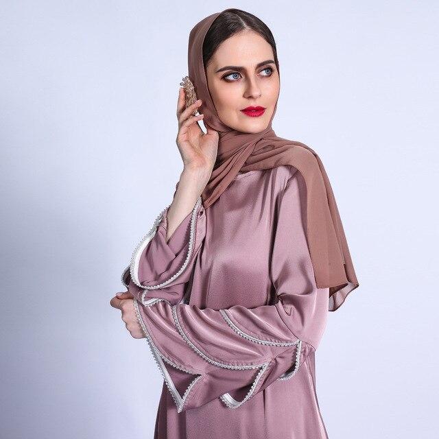 Ramadan Eid Silky Beading Cascading Abaya Hijab Muslim Dress female Caftan Turkish Islamic Kaftan Robe Musulman Abaya 6