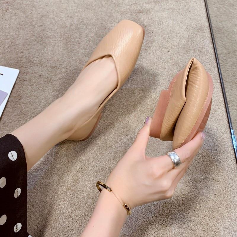 Korean Shoes Casual Female Sneakers Shose Women Shallow Mouth Square Toe Soft Elegant 2020 Nurse Comfortable Retro Dress