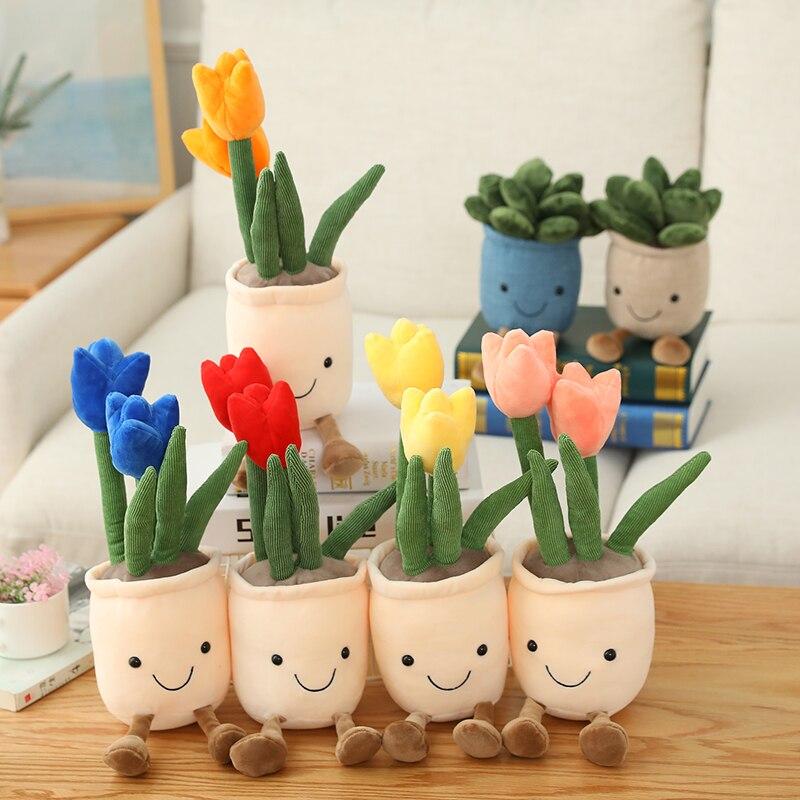 Lifelike Tulip&Succulent Plants Plush Stuffed Toys Soft Bookshelf Decor Doll Creative Potted Flowers Pillow for Girls Kids Gift