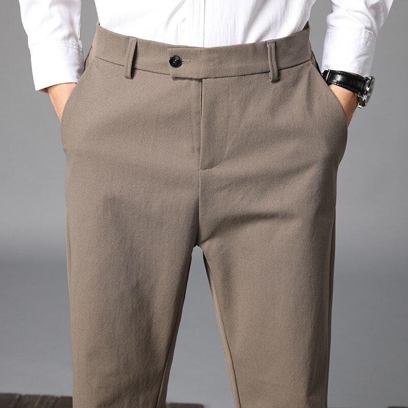 2021 Модные мужские весенние деловые Костюмные брюки/мужские облегающие Модные свободные Костюмные брюки для отдыха/мужские брюки-карандаш ...