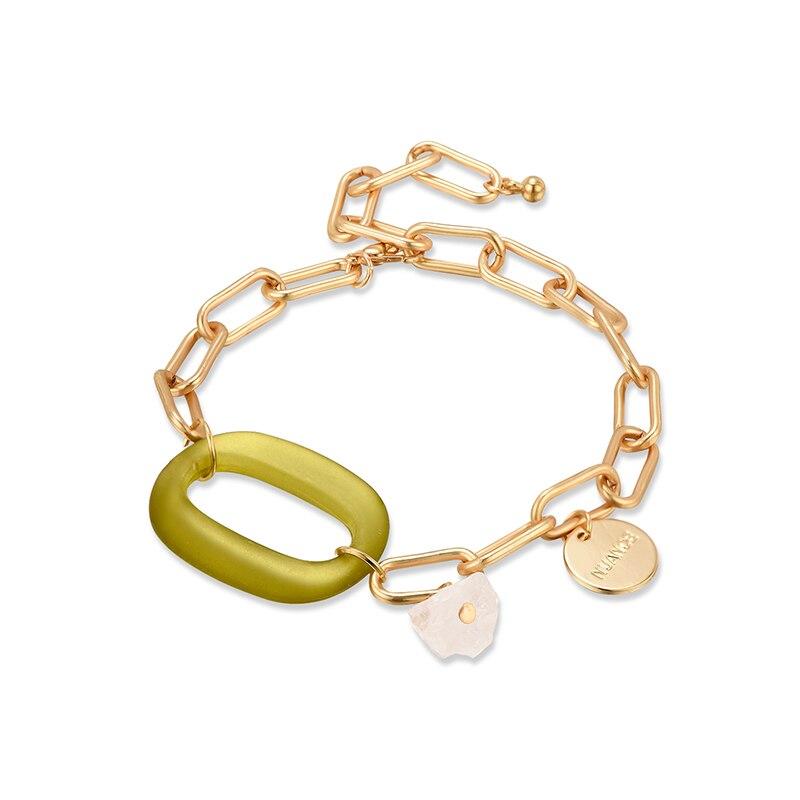 Pulsera de cadena de eslabones ovalados acrílicos de diseño de moda para mujeres niñas verde azul redondo letras colgantes pulseras de encanto joyería