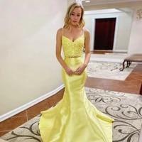 mermaid spaghetti evening dresses long luxury 2021 yellow 2 pieces v neek backless elegant ball gowns robe de soir%c3%a9e de mariage
