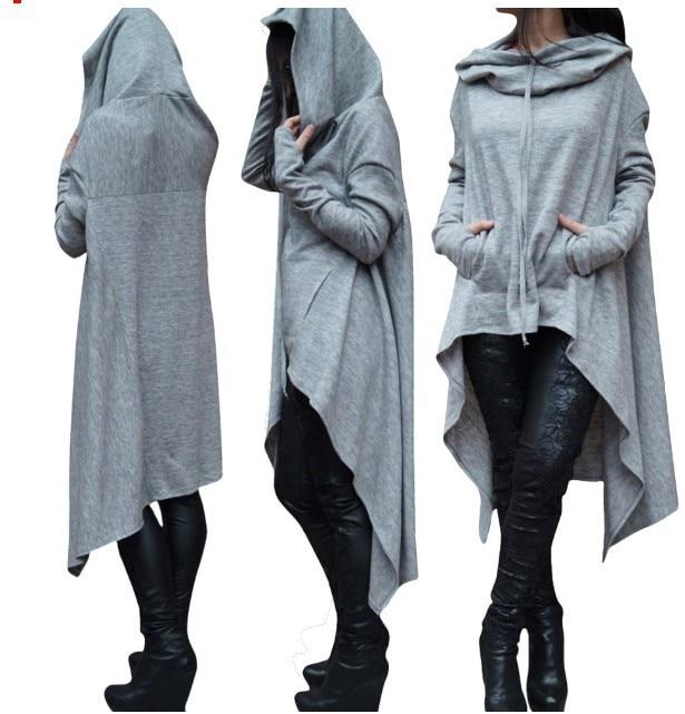 Женские Новые корейские стильные осенние и зимние длинные однотонные женские толстовки с капюшоном пуловер размера плюс уличная одежда