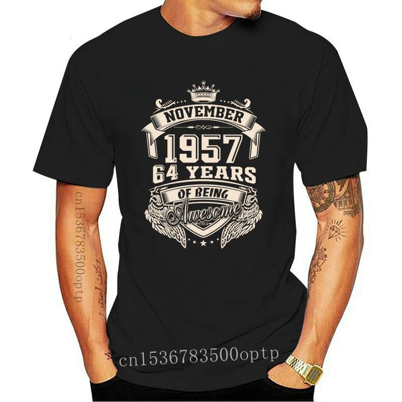 New Born In November 1957 64 Years Of Being Awesome T Shirt Plus Size Cotton Custom Short Sleeve T-shirt