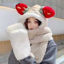 Winter cashmere hat scarf gloves three in one ear protection thickened Plush hat integrated thermal