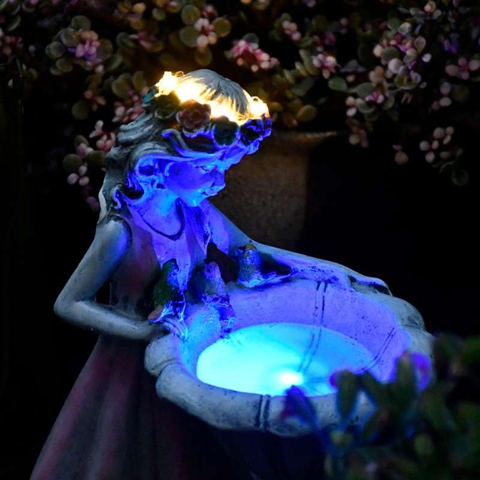 Flower Fairy Solar Decoration Resin Garden Statue Solar Light Glow in the Dark Yard Outdoor Sculpture Angel Figure Garden Decor