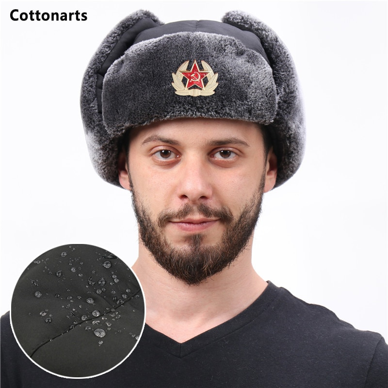 Winter Men's Soviet Badge Lei Feng Hat with Mask Outdoor Waterproof Warm Thickened Ear Flap Caps Rus