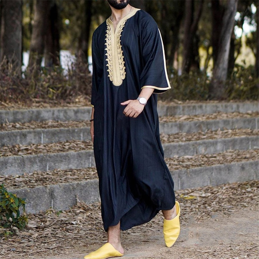 Muslim Sets Men Abaya Ramadan Robe Applique Jubba Thobe Kaftan Long Saudi Middle East Dress Caftan Dubai Abaya Islamic Clothing