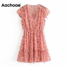 Aachoae Floral Print Mini Dress Women Summer V Neck Boho Beach Dress Ruffle Short Sleeve Elastic Waist Chic Dresses Sundress