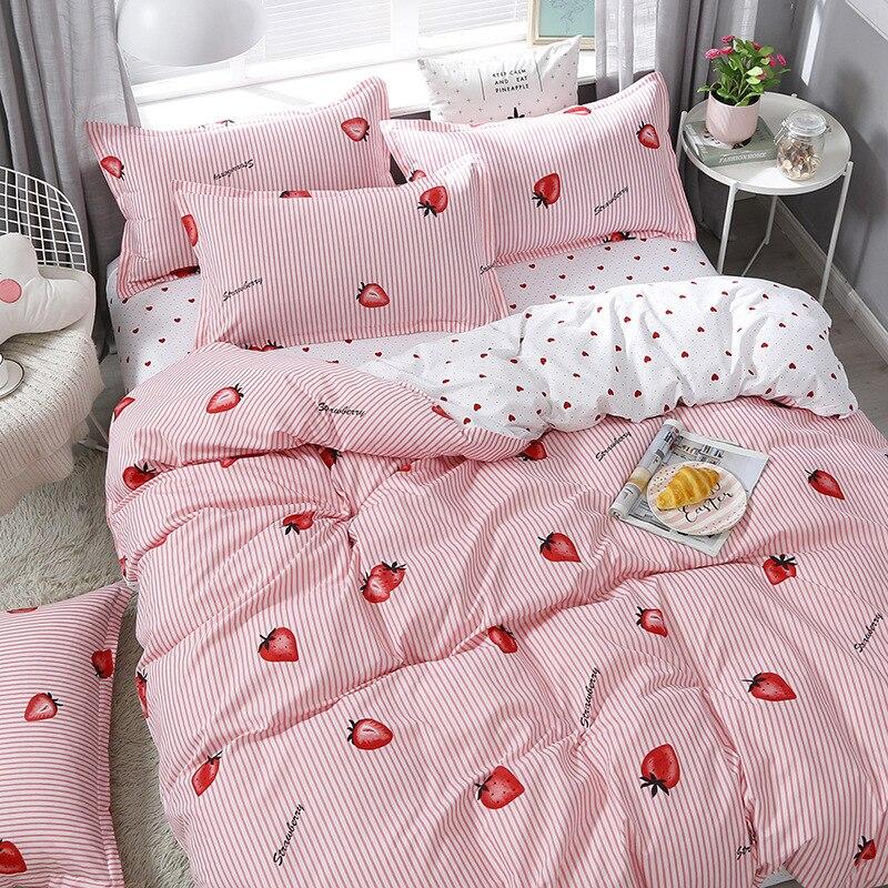 Claroom الوردي الفراولة بياضات سرير طقم سرير لطيف الفتيات حاف طقم أغطية غطاء لحاف غطاء سرير الملك الملكة حجم
