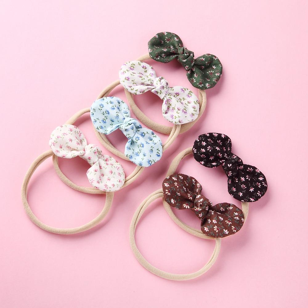 6 unids/lote, diadema con lazo Floral estampado, Clips para el cabello, accesorios para el cabello de flores para niñas, ropa bonita para la cabeza, horquillas suaves, regalos