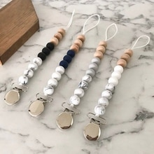 Baby Wooden Pacifier Clips For Kids Anti-lost Chain Holder Infant Pacifier Teether Newborn Marble Pattern Beads Pacifier Chains