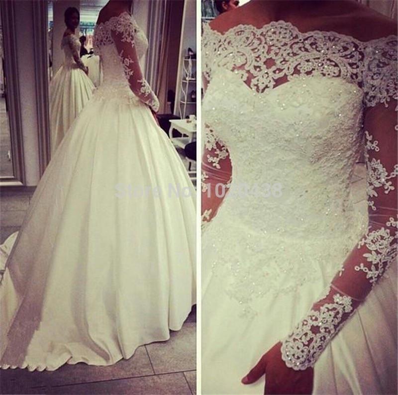 العاج الأبيض الخرز اللؤلؤ يزين الدانتيل الوهم الأميرة الكرة ثوب الزفاف مع كم طويل Vestido De Noiva Princesa