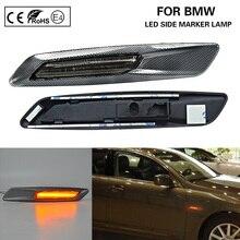 F10 Style LED side marker lamp turn signal lights Smoke lens+3D Carbon finishes for BMW E60 E61 E82 E88 E90 E91 E92 E93
