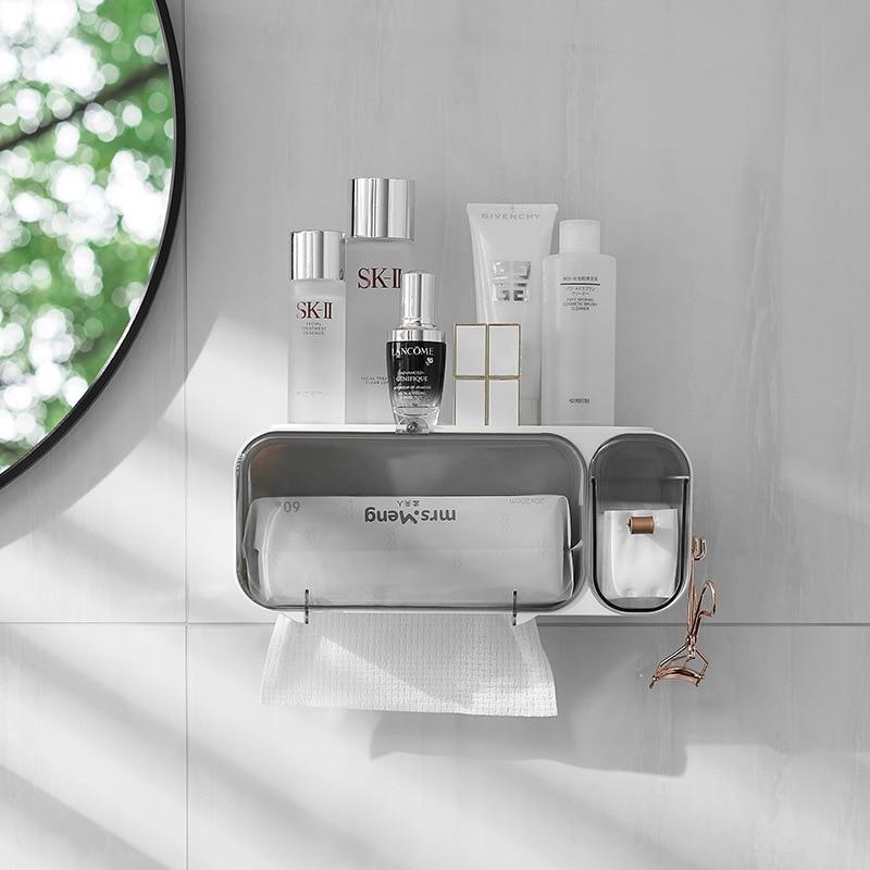 DFU PunchFree SelfAdhesive Waterproof WallMounted Toilet Tissue Box Cover Multifunction Bathroom Storage Organizer Paper Holder enlarge
