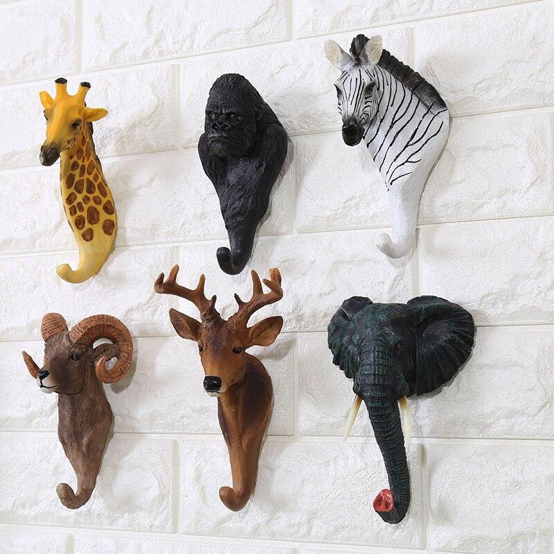 Serie de animales creativos gancho de decoración de pared gancho de pared colgador de puerta bolsa llaves soporte gancho decorativo multiusos decoración del hogar