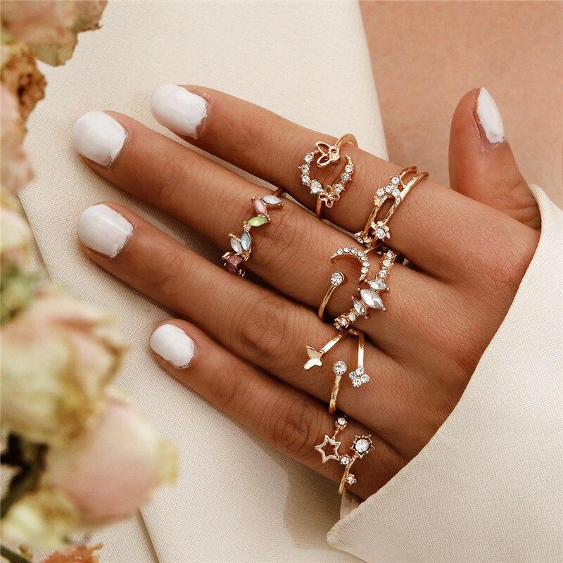 LETAPI, conjunto de anillos de cristal de Metal dorado Vintage para mujer, anillo de dedo nudillo de moda de estrella y Luna para fiesta femenina, joyería de moda 2020