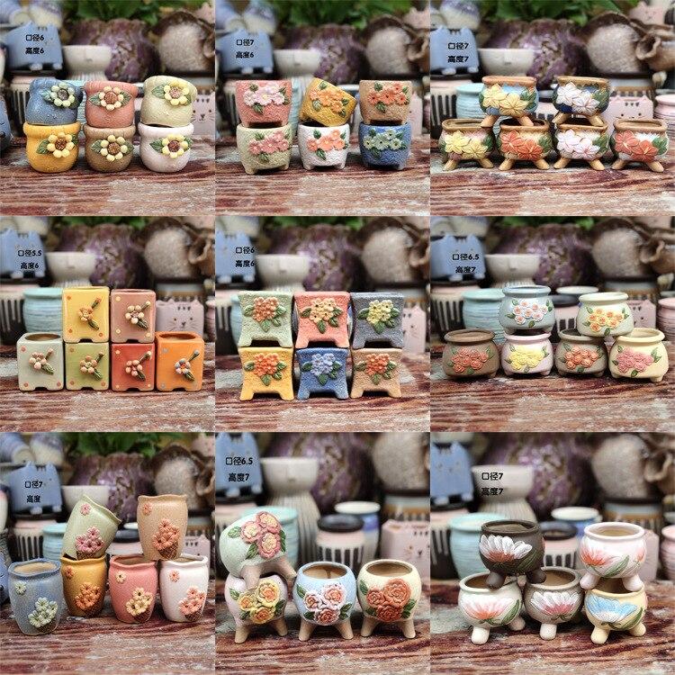 Wholesale Mini Ceramic Flowerpot Desktop Vase Succulent Potted Fake Thumb Basin Container Home Decor Living Room Decoration