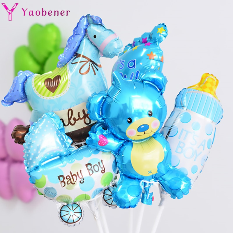 5pcs Mini Blue Baby Shower Foil Balloons Gender Reveal Party Supplies Its a Boy Girl Air Helium Ballons Babyshower Favors Decor baby shower balloons blue pink boy girl foil ballons kids gender reveal first 1st birthday party kids party decorations supplies