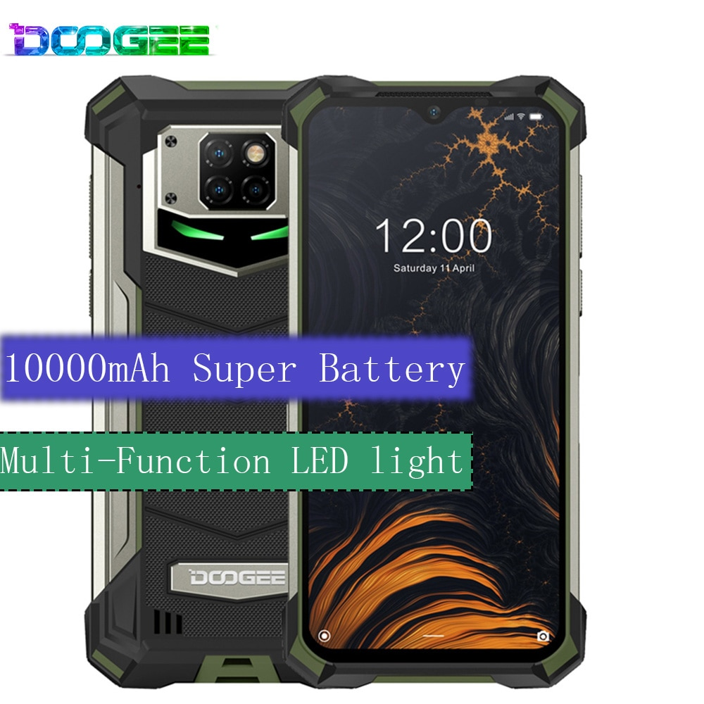 Telefone áspero em mudança rápida ip68/ip69k doogee s88 pro android 10 os 10000mah bateria grande helio p70 octa núcleo 6gb ram 128gb rom