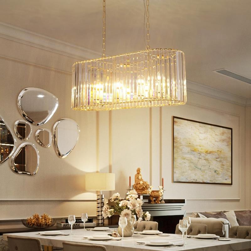 Cadena de candelabro de cristal K9 de lujo, lámpara colgante para sala de estar, restaurante, techo, lámpara para comedor, dormitorio, iluminación dorada