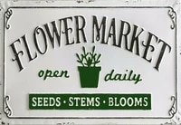 flower market open daily metal tin sign wall plaque 20x30cm tin sign