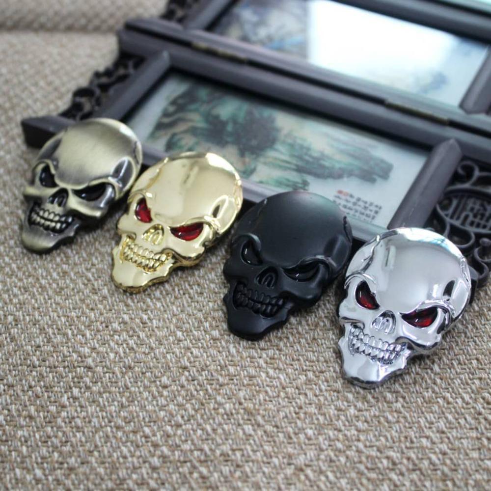 OLPAY Motorcycle Car Universal 3D Chrome Emblem Badge Sticker Skull Decals Frame Body Decoration Sti