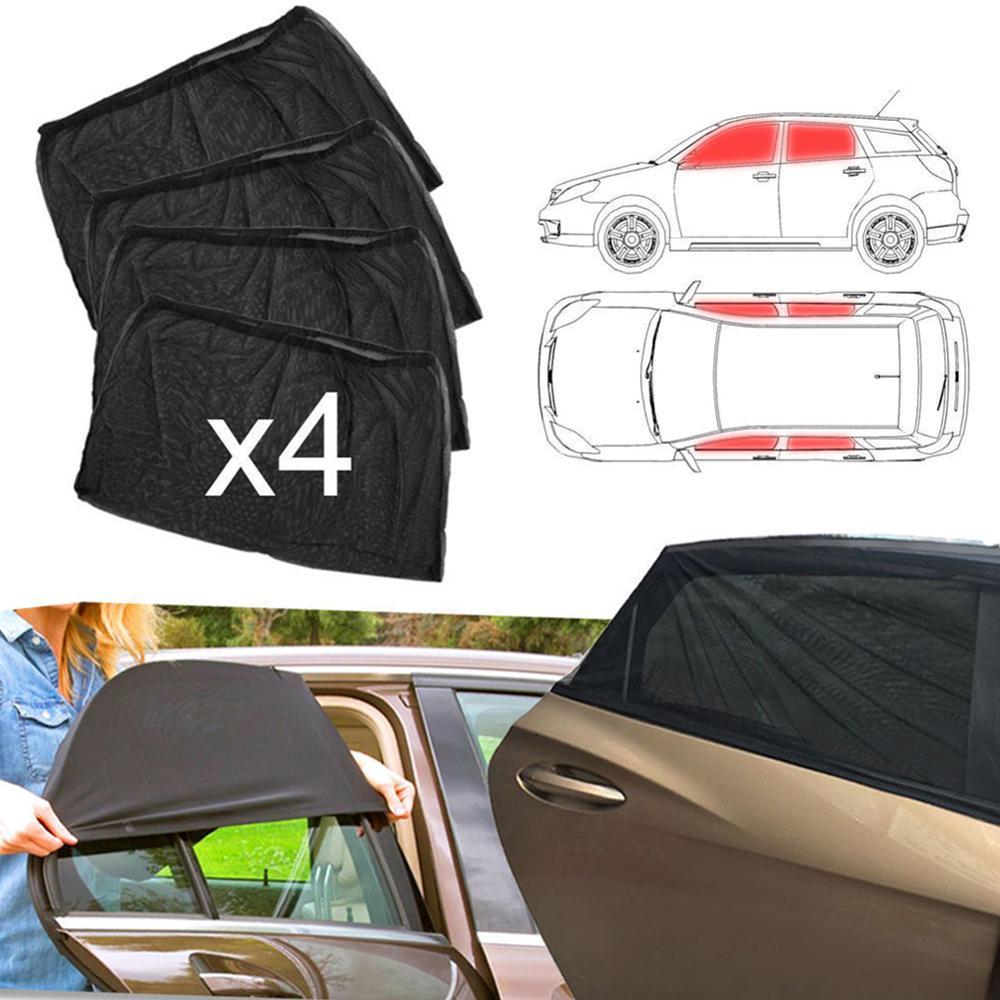 Protector de pantalla para visera de coche, 4 Uds., para ventana frontal y trasera, cubierta de malla, parasol, tela anti-mosquito, Protector UV