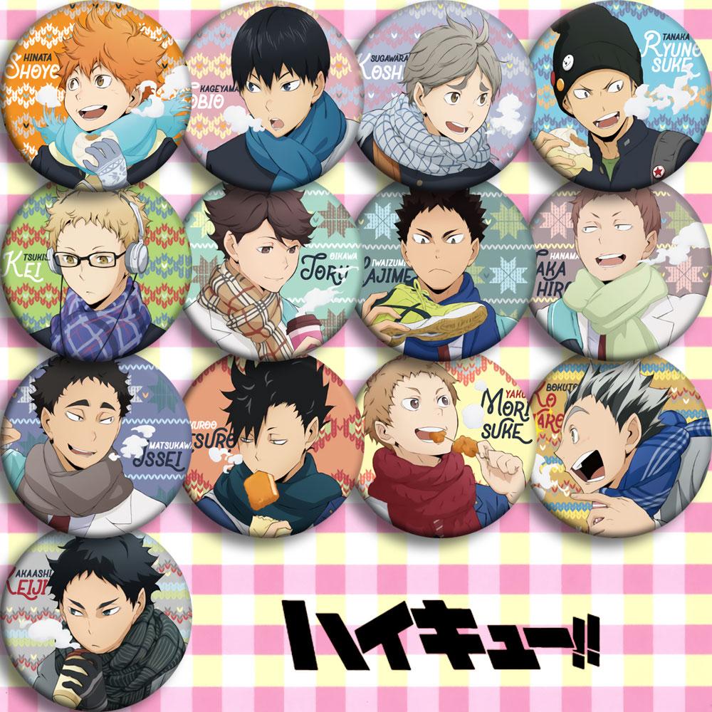 Japón Anime haikyuu JOBIO insignia de cosplay dibujos animados colección bolsas insignias para mochilas botón broche de ropa Pins regalos
