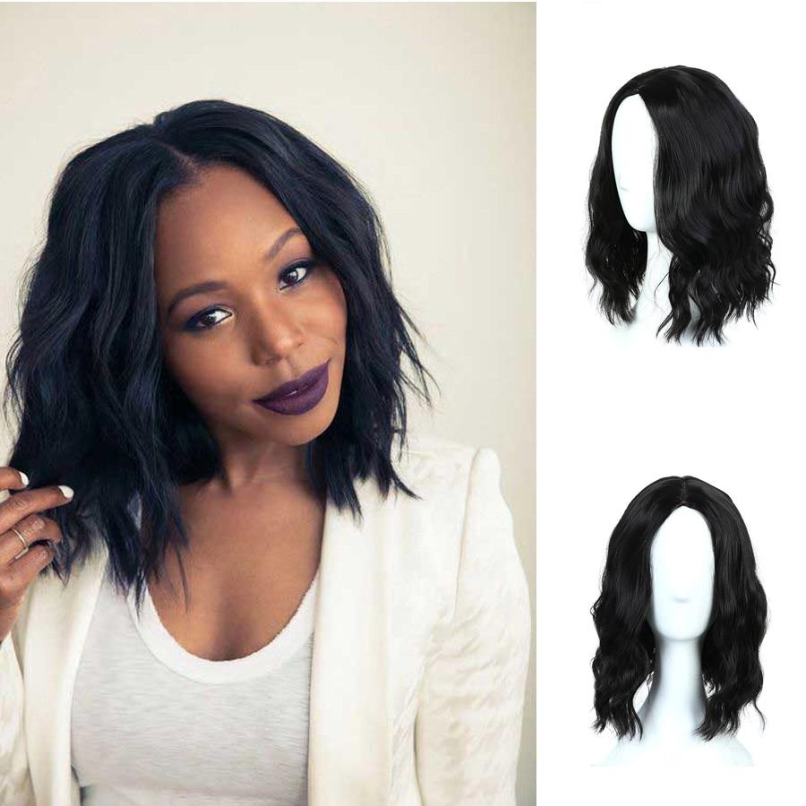 MUMUPI pelucas cortas rizadas con flequillo ondas suaves pelo sintético negro natural peluca para mujer pelucas de pelo diario
