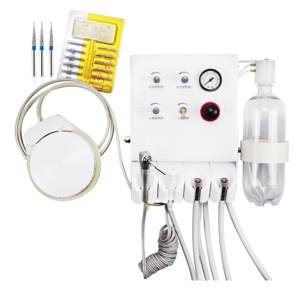 وحدة علاج أسنان محمولة وحدة توربينية تعمل مع ضاغط الهواء للطي كرسي طبيب أسنان المحمولة مع شفط معدات مختبر الأسنان