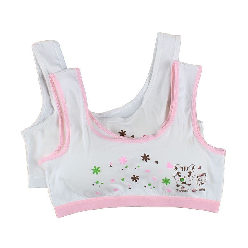 1pc Cotton Baby Girls Bras Solid Color Young Girls Underwear For Sport Wireless Small Training Puber