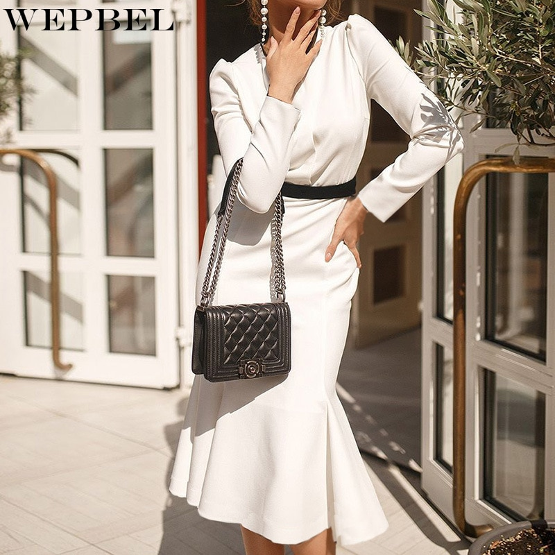 WEPBEL Fashion Slim Fitted Dress Women's Casual Solid Color High Waist Dress Autumn Long Sleeve O-Neck Button Dress