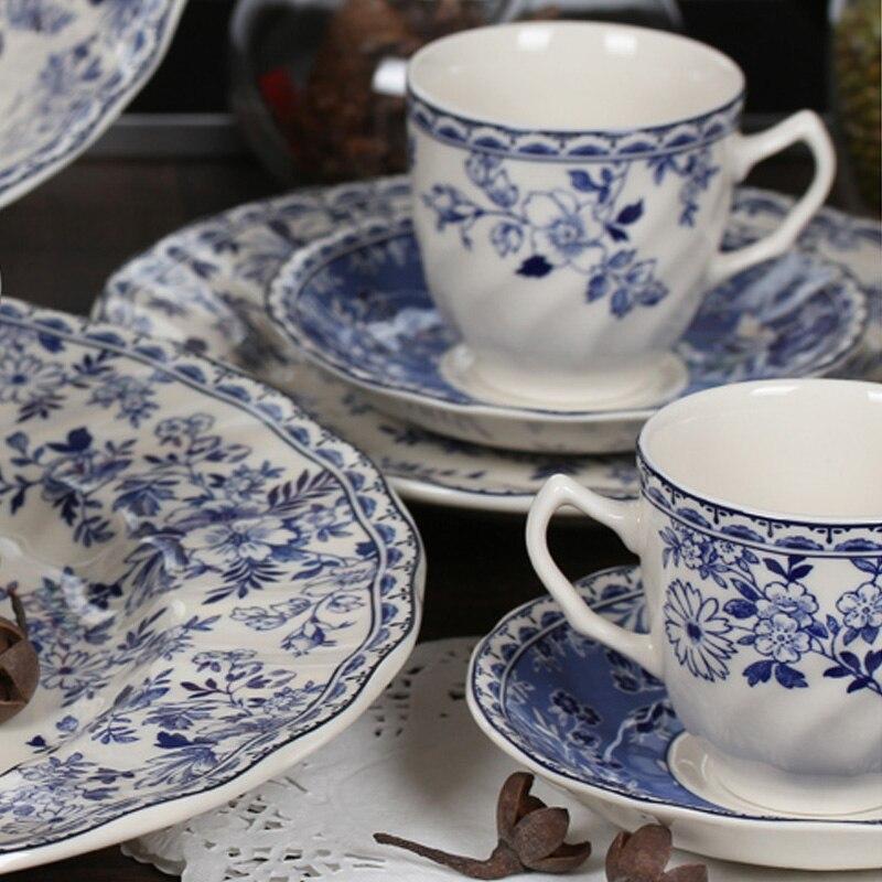 Vintage blue and white porcelain tableware steak plate photo flower dessert plate dish dish soup plate bowl