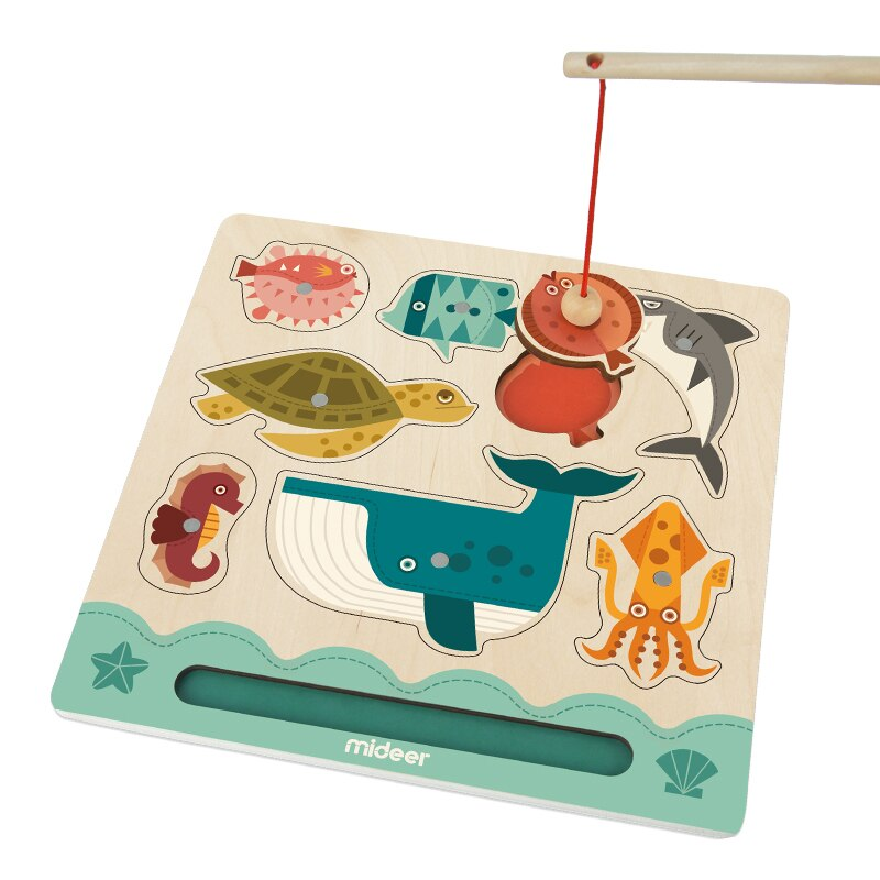 Mideer Kids Early Educational Baby Colorful Cartoon Children Wooden Magnetic Fishing Board Game Toys More Than 2 Years Old  - buy with discount