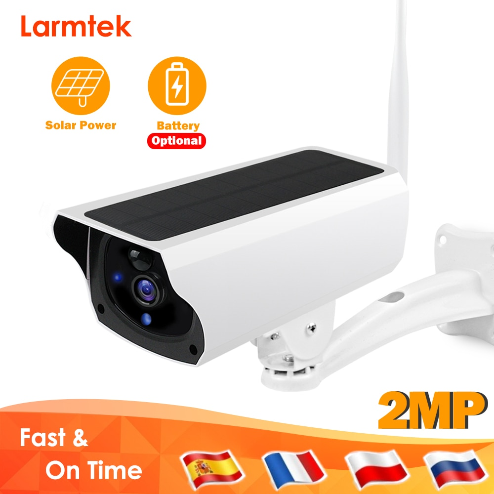 Larmtek في الهواء الطلق كاميرا IP واي فاي كاميرا مراقبة فيديو مقاوم للماء CCTV الأمن كاميرا لوحة طاقة شمسية بطارية قابلة للشحن PIR