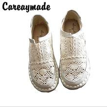 Careaymade-أحذية من الجلد حقيقية ، نقية اليدوية كسول الأحذية ، الدانتيل هوك السيدات زهرة حذاء كاجوال ، الحلو الفن حذاء مسطح ، 2 لون