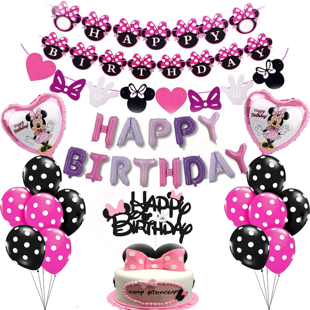 Disney Minnie Mouse Birthday Party Supplies Happy Banner Decorations for Gilrs decor