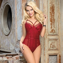 Female Bodysuit Fashion Mesh Sheer Lace Bodysuit Strappy Floral Sexy Body Mujer Plus Size Hot Sale S