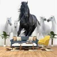 custom 3d photo wallpaper black white horse art wall painting living room bedroom study room home decor wall mural wallpapers