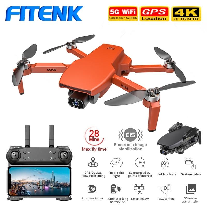 FITENK-Dron plegable SG108 con GPS, 5G, WiFi, FPV, 4K, cámara Dual de HD, profesional, sin escobillas, RC