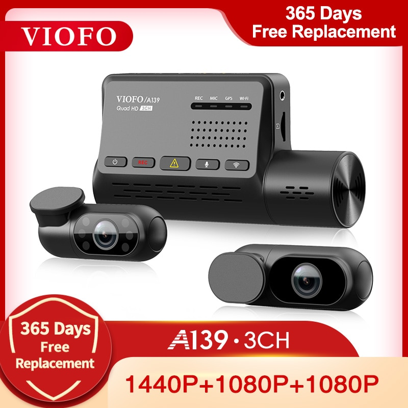 VIOFO A139 Car DVR 3 Channel Dash Cam with GPS Built in Wifi Sony Sensor Rear View Car Camera IR Interior Video Recorder 1080P