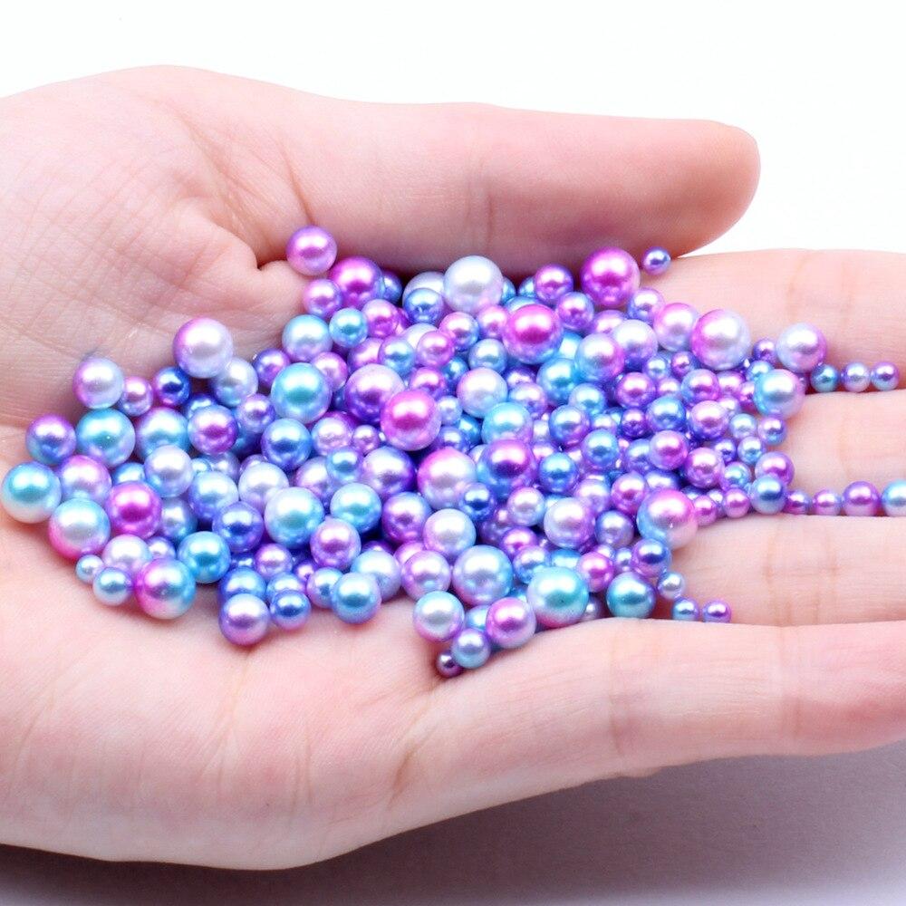 250 unids/pack/3/4/5/6mm Tamaño de mezcla cuentas de colores No agujero perlas perla...