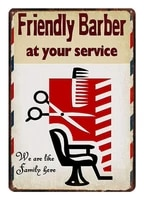 friendly barber at your service tin sign art wall decorationvintage aluminum retro metal sign