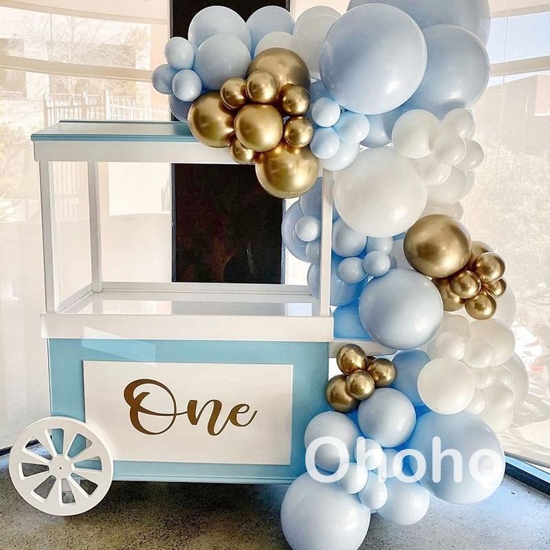 Ohoho Pastel Macaron Ballon Garland Arch Kit Baby Shower Jongen 1st Verjaardagsfeestje Decoratie Volwassen Bruiloft Achtergrond Accessoires