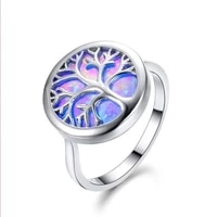 silver plated round tree of life 2 colors opalite opal finger ring for anniversary gift jewelry